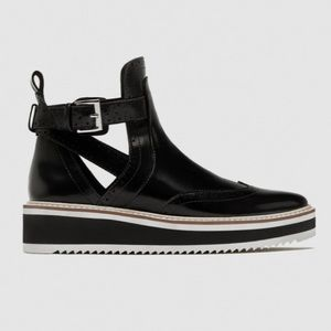 Zara Basic Flat Cut Out Ankle Boots Black Wingtip